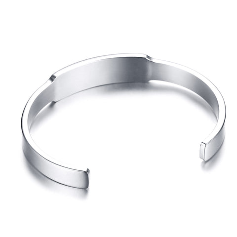 Womens Medical Alert ID Bracelet - Stainless Steel Bangle - Free Engraving