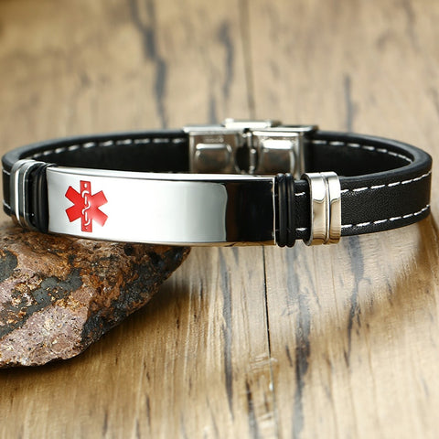 Mens Medical Alert ID Bracelet - Black Genuine Leather - Free Engraving