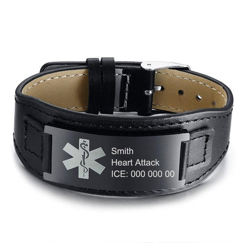 Mens Medical Alert ID Bracelet  - Black Leather - Free Engraving