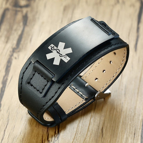 Image of Mens Medical Alert ID Bracelet  - Black Leather - Free Engraving