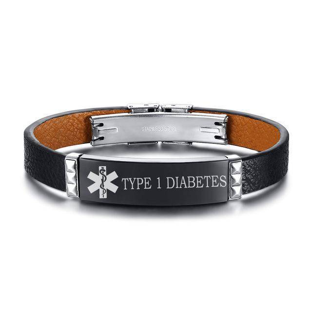Mens Diabetic Medical Alert ID Bracelet - Black Leather - Type 1 & Type 2 Diabetes