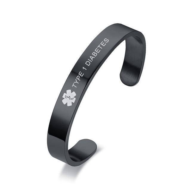 Mens Diabetic Medical Alert ID Bracelet - Black Stainless Steel ID - Type 1 & Type 2 Diabetes