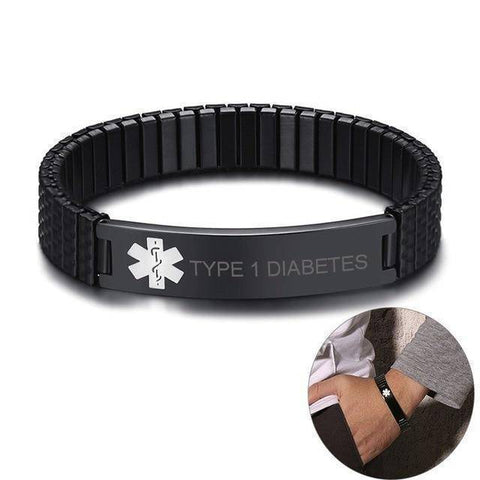 Image of Mens Diabetic Medical Alert ID Bracelet - Black Stretch Stainless Steel - Type 1 and Type 2 Diabetes