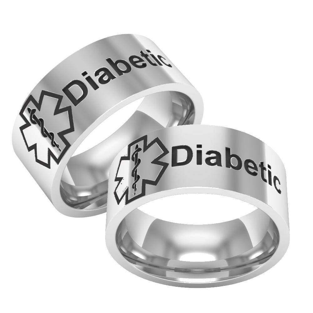 Unisex Diabetic Medical Alert Ring - Titanium Band - Diabetes ID