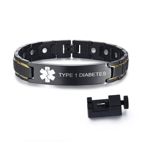 Mens Diabetic Medical Alert ID Bracelet - Black Stainless Steel - For Type 1 and Type 2 Diabetes