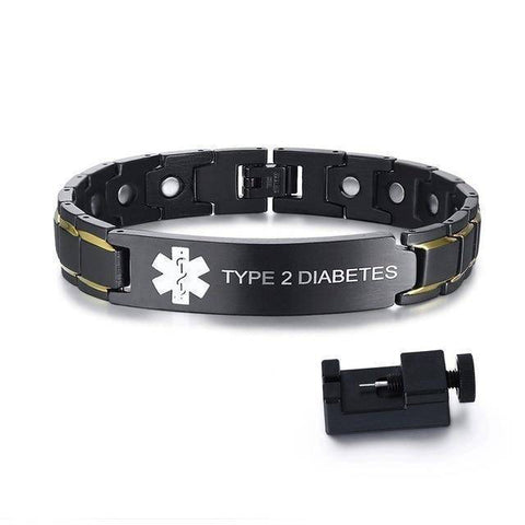 Image of Mens Diabetic Medical Alert ID Bracelet - Black Stainless Steel - For Type 1 and Type 2 Diabetes