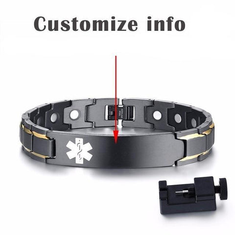 Mens Medical Alert ID Bracelet - Black Stainless Steel - Free Engraving