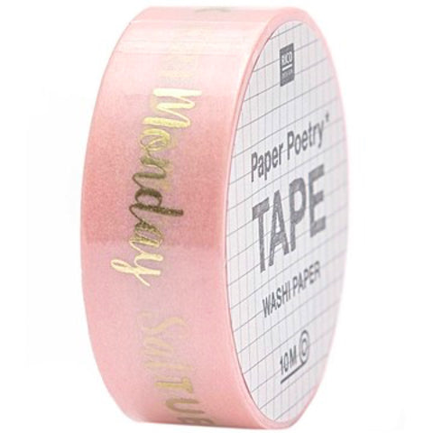 10m roll of washi tape printed with days of the week in gold foil