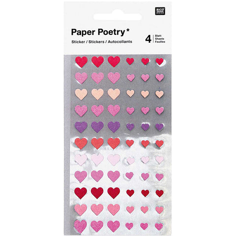 sheet of 66 heart shaped stickers in two sizes, 264 stickers in total.