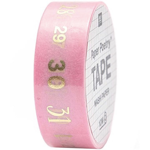 semi transparent washi tape printed with numbers 1 to 31 in gold foil