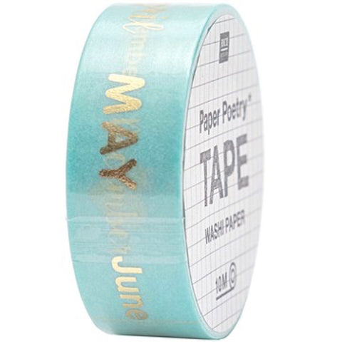 Months of the year washi tape printed in gold foil