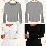 Women Fashion Sexy Hollow Lace Long Sleeve Round Neck Blouse Top Casual T-shirt