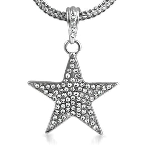 Small Rhodium Lone Star Pendant  Chain