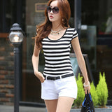 Fashion Summer Casual Short Sleeve Women Striped Slim All-Match T-shirt Tee Top