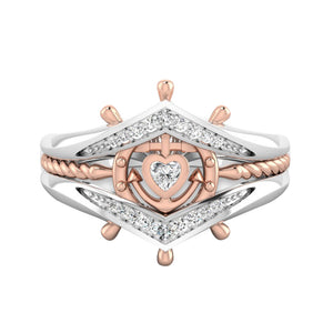 Elegant Helm Rudder Heart Zircon Inlaid Jewelry Party Women Finger Ring Gift