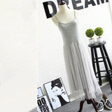 Women Spring Summer Sexy Straps Mesh Lace Knees Length Sleeveless Basic Dress