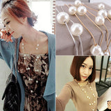 Women Fashion Double Layers Alloy Faux Pearl Decor Sweater Long Chain Necklace