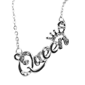 Elegant Jewelry Letter Queen Pendant Shiny Rhinestone Clavicle Chain Necklace