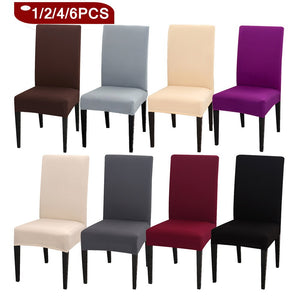 1/2/4/6PCS Solid Color Chair Cover Spandex