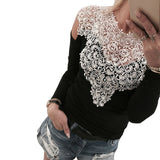 Fashion Lace Hollowed Collar Long Sleeve Top Tee Breathable Spring Women T-Shirt