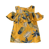 Fashion Summer Pineapple Pattern Kids Girls Breathable Round Neck Dress Gift
