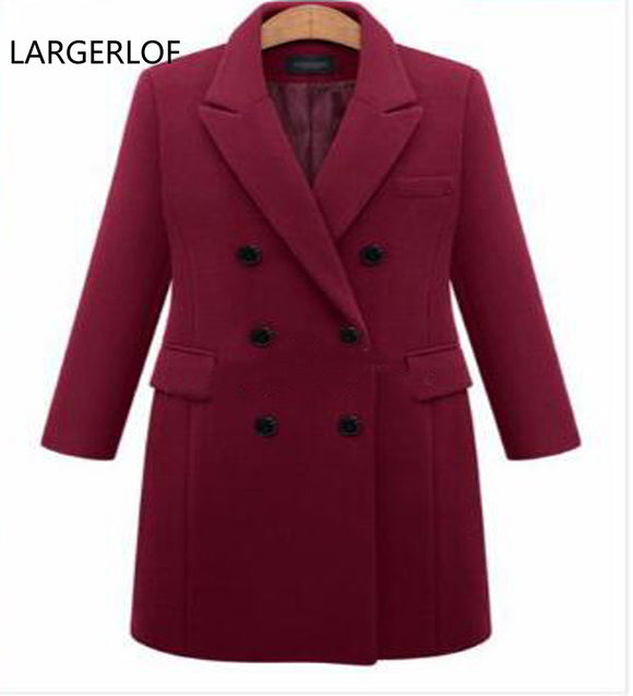 2018 women winter autumn jacket long women coat slim suit collar long style soild woolen coat female jacket size XL-5X