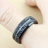 Unisex Black 2-Row Rhinestone Stainless Steel  Wedding Band Ring US Size 7-12