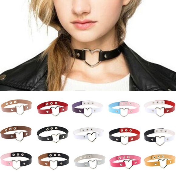 Women's Punk Faux Leather Love Heart Collar Choker Necklace Jewelry Charm Gift