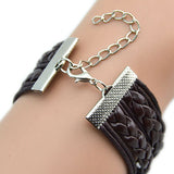 Vintage Multilayer Double Birds Infinity Charm Bracelet Punk Braided Chain Bangle
