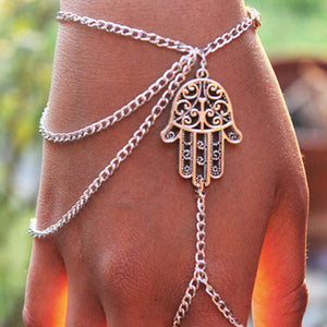 Women's Hamsa Hand Asymmetric Slave Tassel Chain Harness Finger Ring Bracelet