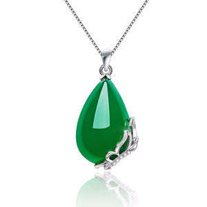 DZ02 Natural Chrysoprase Pendant 925 Sterling Silver Butterfly Shape Frame Decoration Fashion Luxury Women's Jewelry