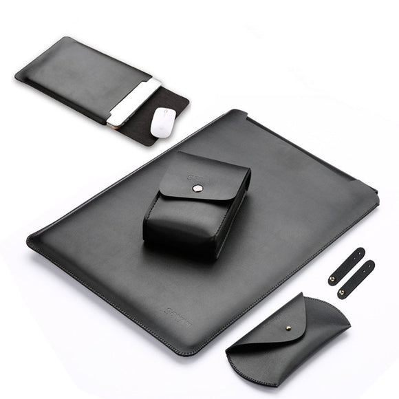 Leather Sleeve Case for MacBook Air 12 inch with Mouse Pad (Black)