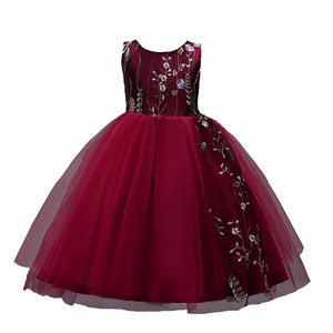 DK825 PolyesterChildren Princess Dress Sleevelesss Petals Mesh Floral Girls Dress Fashion Baby Girl Wedding Party Dresses