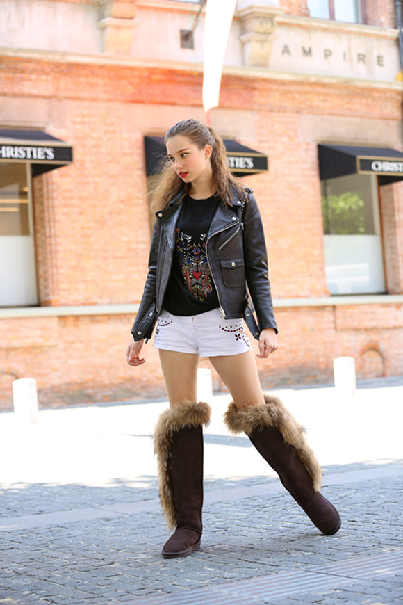 women new fashion real genuine leather knee-high high quality handmade snow boots  Factory wholesale