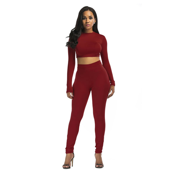2 Piece Outfits Women Set Workout Sport Suit Long Sleeve Shirt+Pants