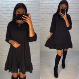 2018 spring new fashion women loose dresses casual o-neck 3/4 lantern sleeve dress elegant ruffles mini Vestidos