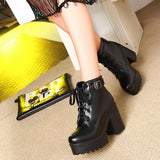 women's ankle boots lace up high heels Punk platform winter snow boots ladies shoes