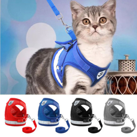 Pet Cat Small Dog Adjustable Reflective Walking Harness Vest with Lead Leash
