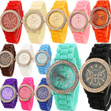 Women Fashion Candy Color Sweet Cute Geneva Silicone Strap Quartz Wrist Watch