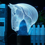 3D 7 Color Change Acrylic Horse Head LED Night Light USB Lamp Home Decor Gift