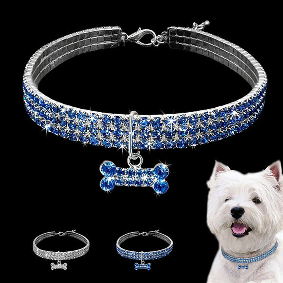 Fashion Shiny Three Row Rhinestone Bone Pendant Puppy Dog Collar Pet Supply