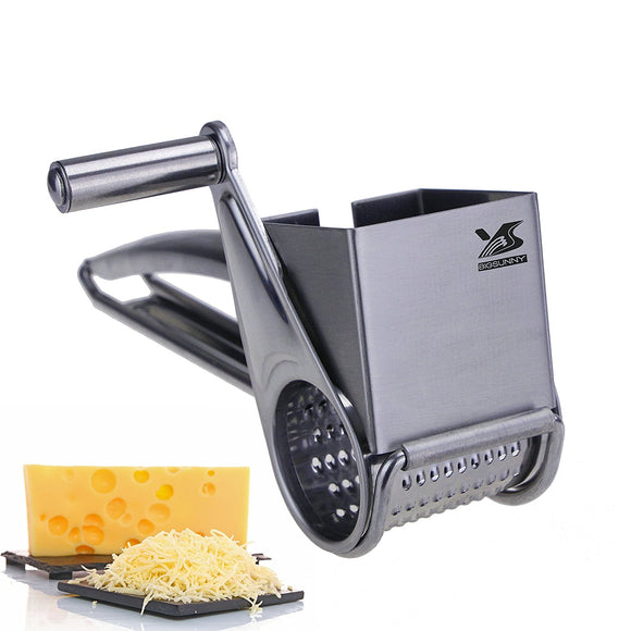 BIGSUNNY Stainless Steel Multi Purpose Rotary Cheese Nut Spice Grater Shredder