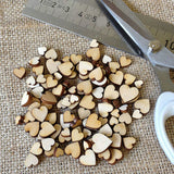 100 Pcs Wood Love Heart Shape Buttons Table Scatter Craft DIY Wedding Decor