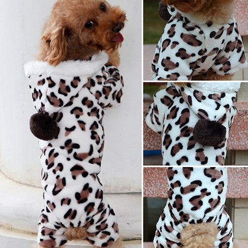 Leopard Warm Winter Pet Dog Puppy Clothes Hoodie Jumpsuit Pajamas Outwear