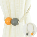 Stylish Magnetic Wood Bead Weaving Rope Curtain Tieback Ring Holder Home Decor