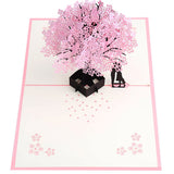 Romantic Pop Up Cherry Tree Holiday Paper Greeting Card Festival Birthday Gift