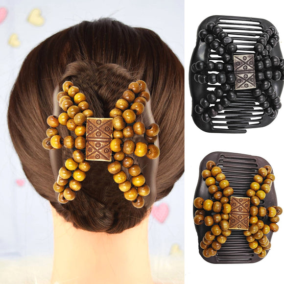 Fashion Women Wooden Beads Magic Hair Comb Slide Clip Hairpin Style Headwear