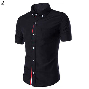 Men Slim Fit Turn Down Collar Short Sleeve Top Party Office Casual Summer Shirt