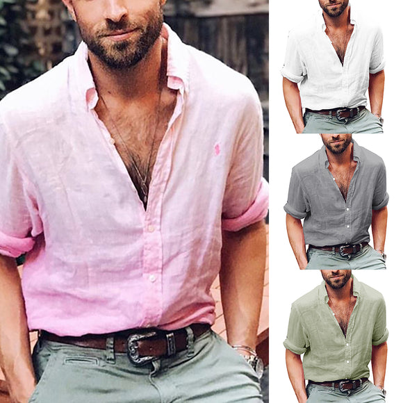 Men's Stylish Casual Loose Solid Color Autumn Long Sleeve Button Shirt Gift