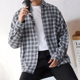 Leisure Spring Men Long Sleeves Buttons Loose Grid Check Shirt Slim Fit Top